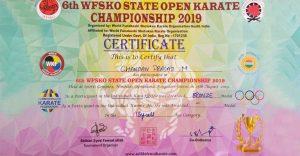 Karate CoKarate Compitation Certificatempitation Certificate
