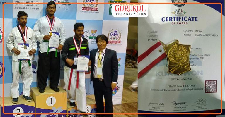 Gurukulite Stands Tall, Strikes Gold at International-Level Taekwondo Champion