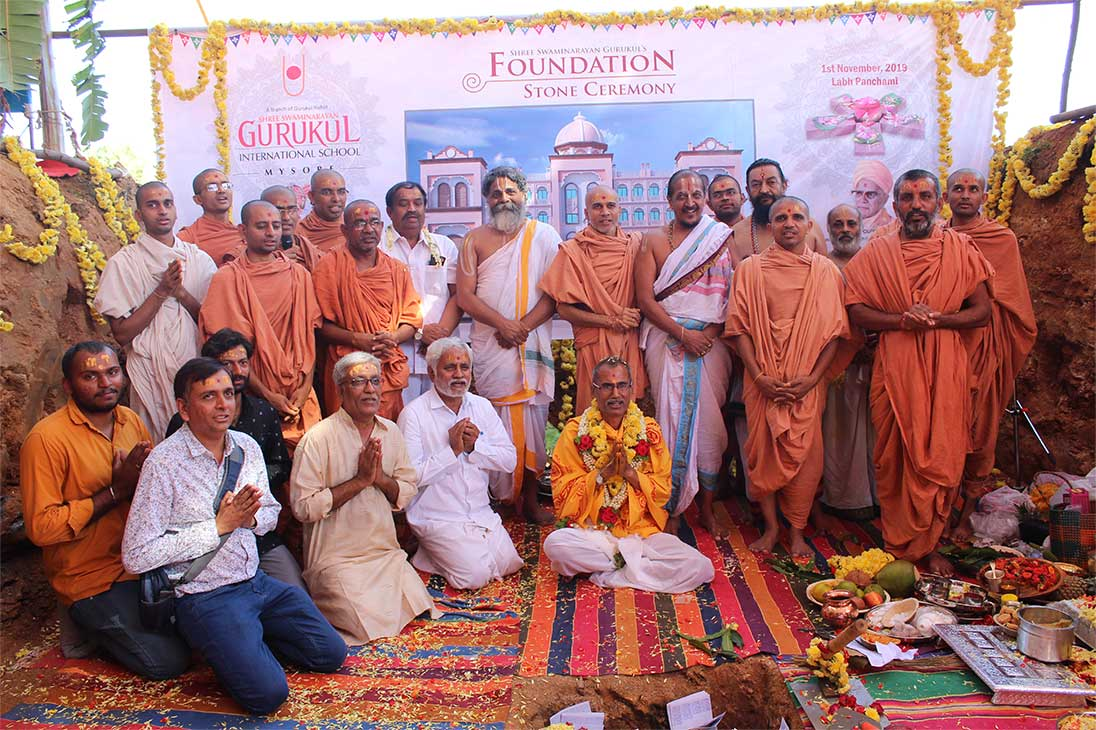 Foundation stone ceremony of Shree Swaminarayan Gurukul Mysore