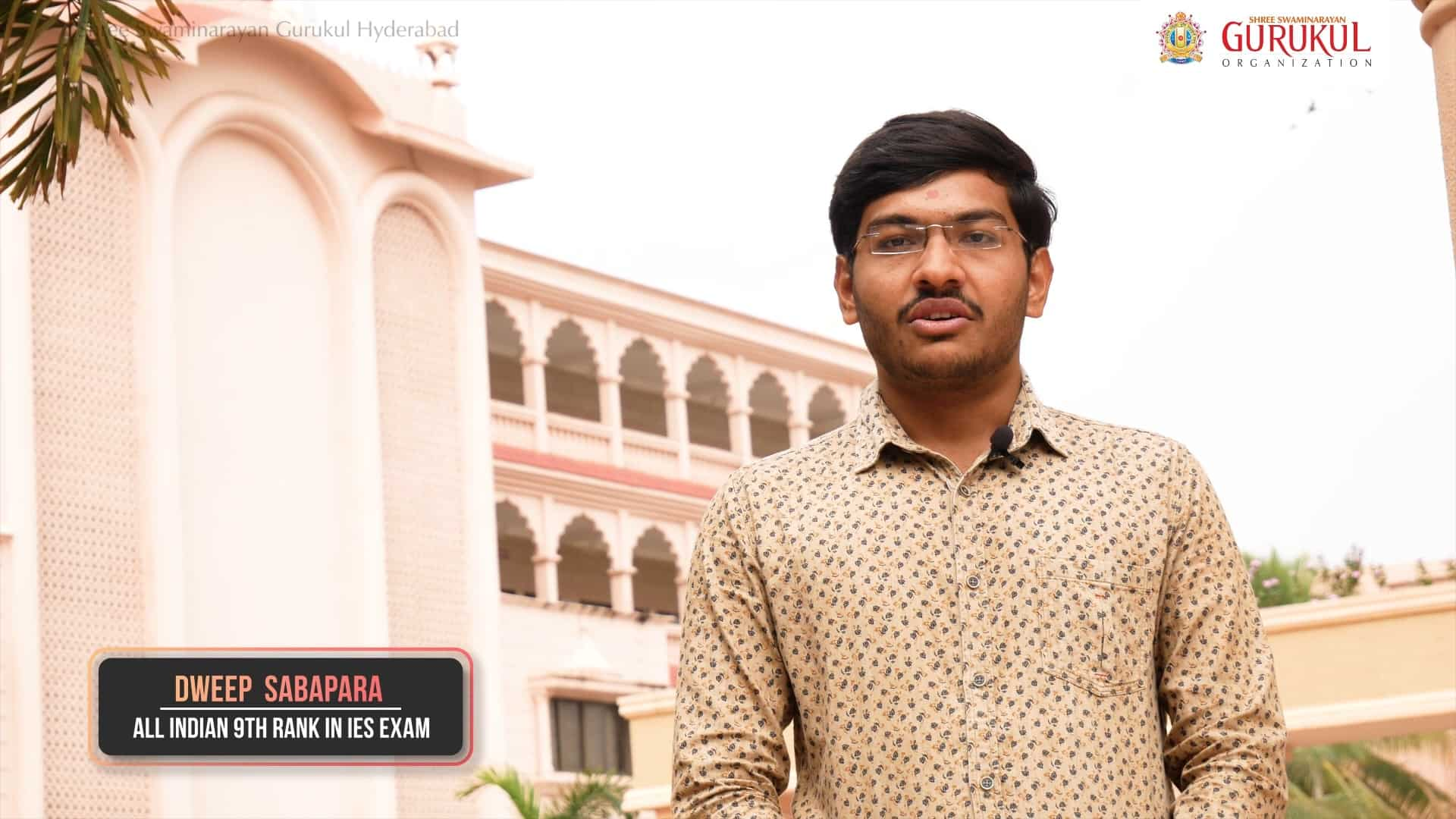 Dweep Sabapara, All Indian 9th rank in IES Exam